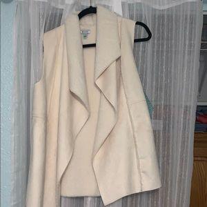 cream plush vest